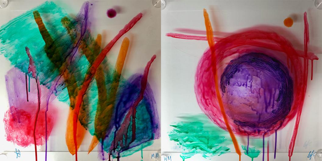 Edith Fiedler und Marion Musch: Interaktiver Farbdialog Nr. 11 und 12 auf Spuckschutz-Scheibe, Acrylglas, jeweils 50 x 50 cm