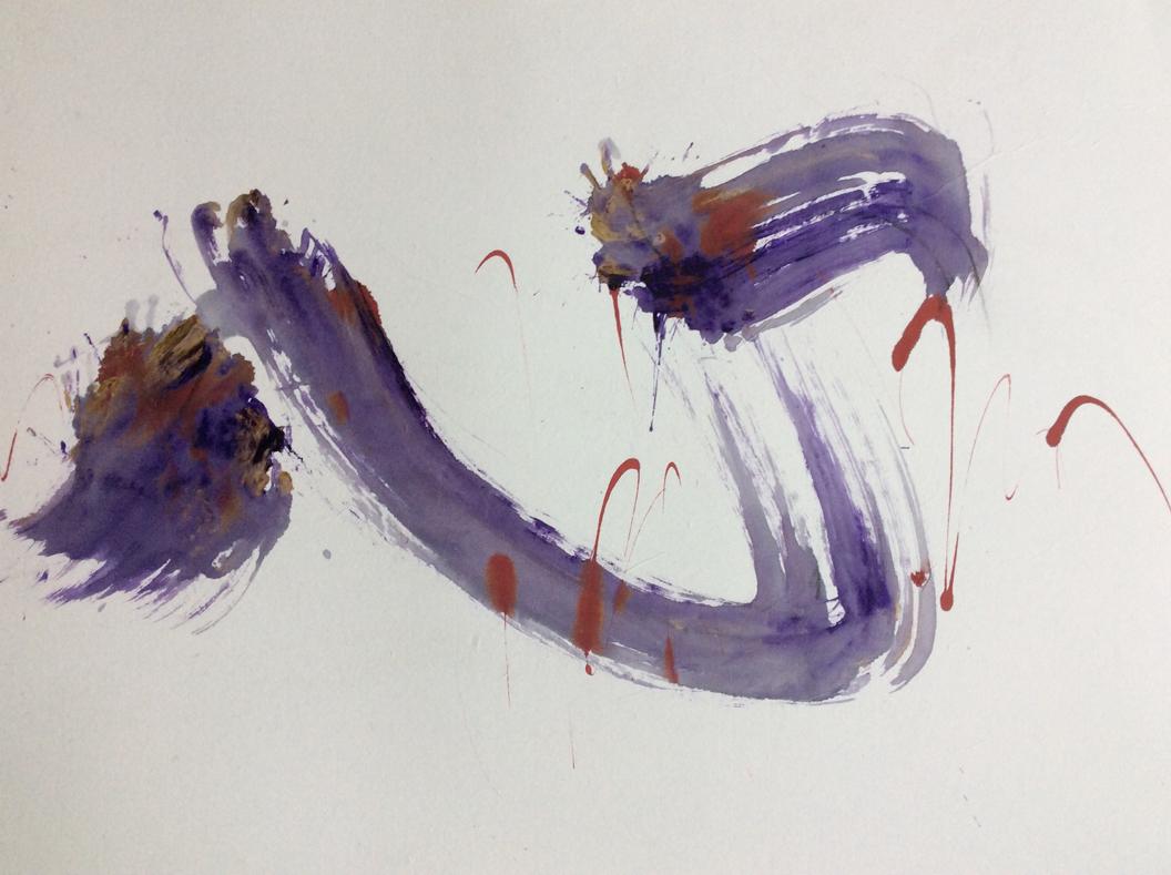 Petra Friedrich: Herzschlag, Tusche auf Japanpapier, 45 x 66 cm
