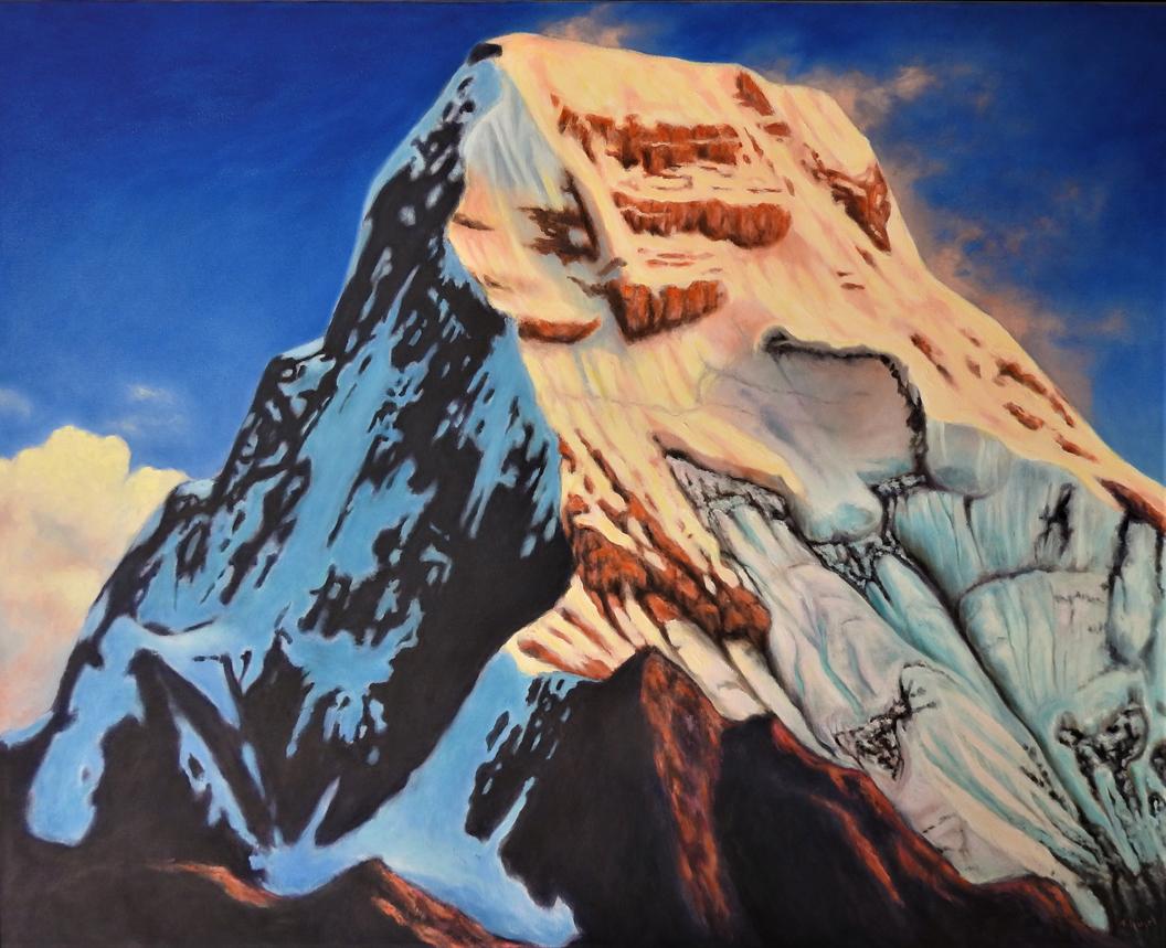 Fredi Hügel: Berg, Öl auf Leinwand, 80 x 100 cm