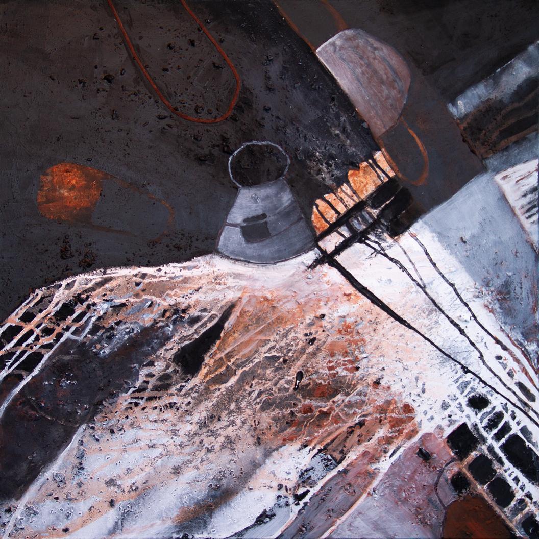Margot Markt: Maskerade, 2021, Mischtechnik - Papier, Acryl,  Asche, Tusche auf Leinwand, 70 x 70 cm
