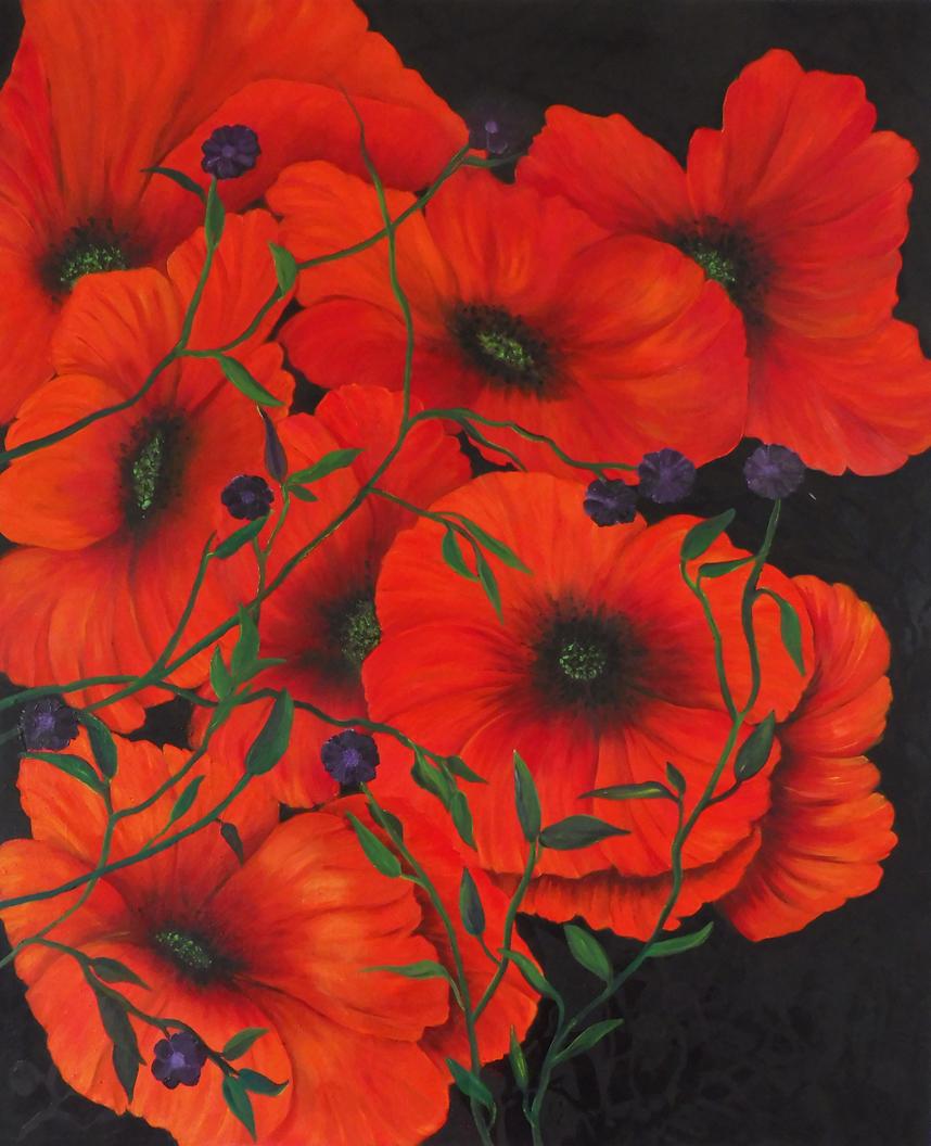 Anita Raisch: Roter Mohn, Öl auf Leinwand, 100 x 80 cm