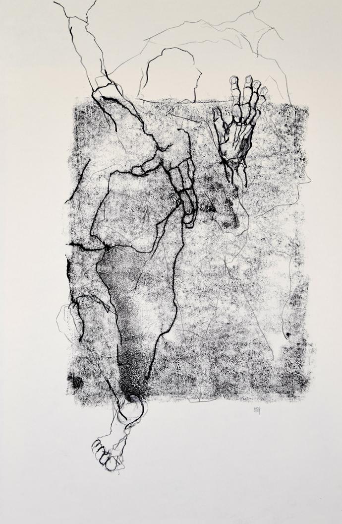 Wilhelm S. Schmitt: ... tastend, suchend, Kreide und Grafit über Monotypie auf Papier, 70 x 50 cm