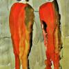 Gerhilt Braun: Zwei Damen aus zwei Haushalten, Farbige Tusche auf Papier, 60 x 40 cm