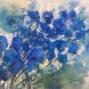 Sabine Schäfer-Gold: Blaue Blumen, Aquarell, 30 x 40 cm