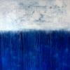 Heike Schmidt: White Blue, Acryl und Sand auf Leinwand, 150 x 150 cm