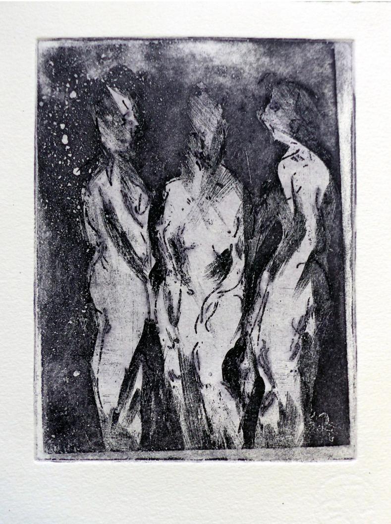 Albrecht Weckmann: Trio, Aquatintaradierung, 20 x 15 cm (Bildformat)