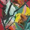 Eva Hoppert: Glückliche Momente I, Collage und Acryl auf Leinwand, 100 x 50 cm