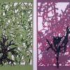 Ulrike Saremba:  1. Serie: Bunte Schatten - Olive, 2. Serie: Bunte Schatten - Forsythia, Scherenschnitt, acrylgefärbtes Papier, 30 x 20 cm
