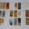 Simone Schäffer: Gestalten, Pigment, Öl, Druck, Schreibmaschine, 40 Blätter, jeweils 17 x 7 cm