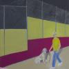 Petry Seidel: Andy Warhol mit Hund, 100 x 50 cm
