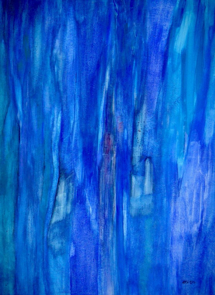 Elke Koch, die in den achtziger Jahren an der Freien Kunst- schule, Nürtingen Malerei und Grafik studierte, hat in der Malerei einen langen Weg zurückgelegt, der sie konsequent vom Gegenständlichen in eine immer stärkere Abstraktion führte. Dennoch haben ihre abstrahierten Landschaften, und ihre gestisch ausdrucksvollen Personenbilder die Verbindung zum Gegenständlichen nicht verloren. Es ist ihr vielmehr gelungen, das Gegenständliche mit dem Allegorischen zu verbinden, und damit ihre Bildwelten surreal zu überhöhen.  Oder einfach: 1982 - 1986  Studium an der Freien Kunstschule, Nürtingen            Elke Koch, die in den achtziger Jahren an der Freien Kunst- schule, Nürtingen Malerei und Grafik studierte, hat in der Malerei einen langen Weg zurückgelegt, der sie konsequent vom Gegenständlichen in eine immer stärkere Abstraktion führte. Dennoch haben ihre abstrahierten Landschaften, und ihre gestisch ausdrucksvollen Personenbilder die Verbindung zum Gegenständlichen nicht verloren. Es ist ihr vielmehr gelungen, das Gegenständliche mit dem Allegorischen zu verbinden, und damit ihre Bildwelten surreal zu überhöhen.  Oder einfach: 1982 - 1986  Studium an der Freien Kunstschule, Nürtingen                     Elke Koch: Blaues Schilf | Acryl auf Leinwand | 200 x 120 cm