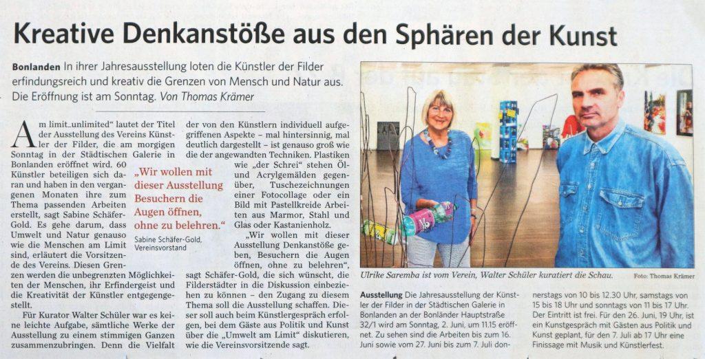 Artikel der Filderzeitung vom 2. Juni 2019