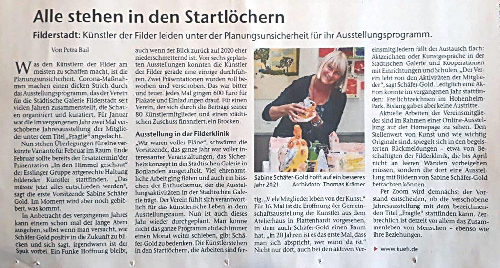 """Bild: Artikel """"Alle stehen in den Startlöchern""""; Eßlinger Zeitung vom 15.01.2021"""